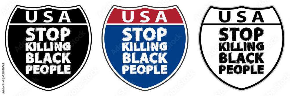 Fototapeta Traffic signs with inscriptions USA and Stop killing black people