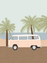 Retro Camper Van On The Beach