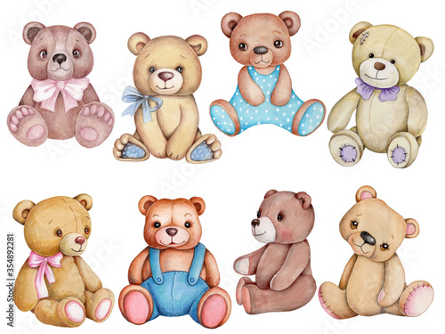 Set of teddy bears. Watercolor hand drawn illustrations, isolated on white background.  #354892281
