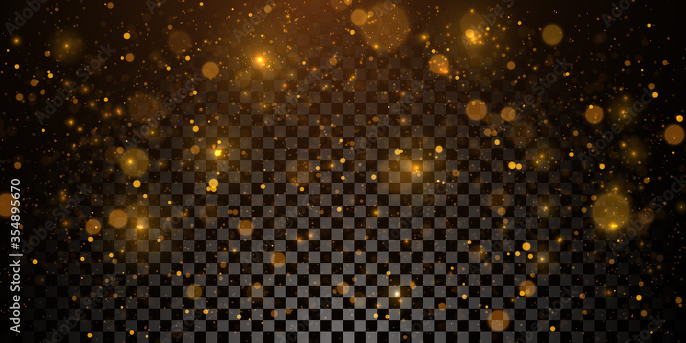 Fototapeta Sparkling golden particles, glowing bokeh lights isolated on dark transparent background