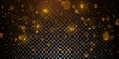Sparkling golden particles, glowing bokeh lights isolated on dark transparent background