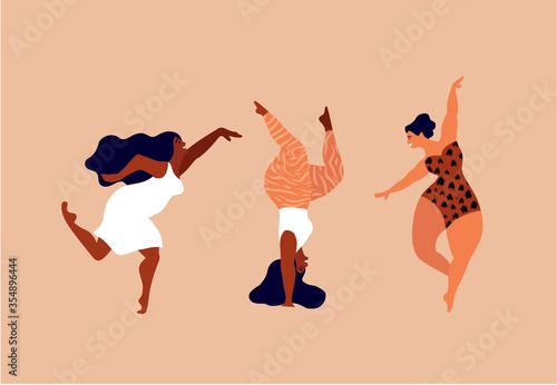 Fototapeta Happy women. Body positive vertical cards. Love yourself, your body concept. Female freedom, girl power or international women's day vector illustration. obraz na płótnie