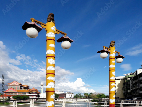 Photo Chinese Huabiao stone pillars, Ancient wooden pillar used to represent the king'