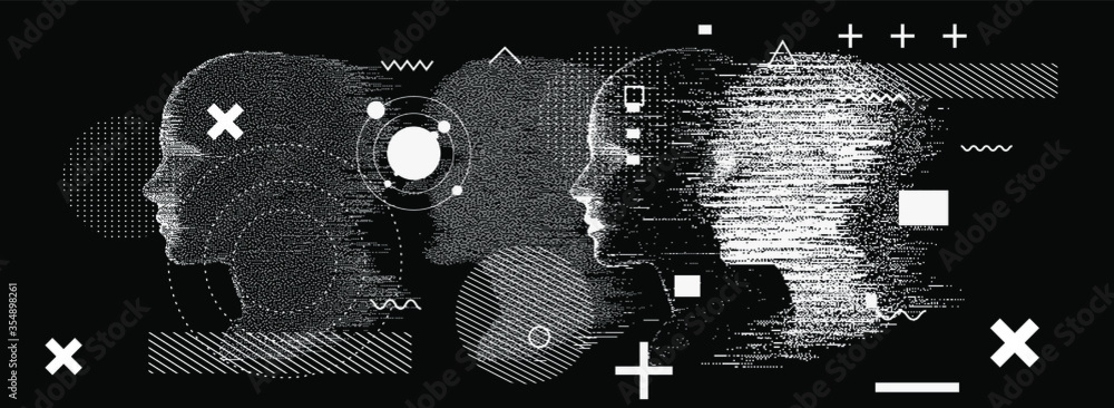 Fototapeta Silhouette of a human head. Conceptual image of AI (artificial intelligence), VR (virtual reality), Deep Learning  and Face recognition systems. Cyberpunk style vector illustration.