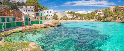 Panoramic view of beach at Santanyi fishing village at bay of Majorca island, Spain, Mediterranean Sea, Balearic islands, Mallorca