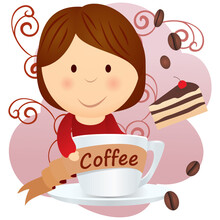 Girl Hugging Coffee Cup Cartoo...