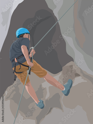 Photo Abseiling Rock Climbing