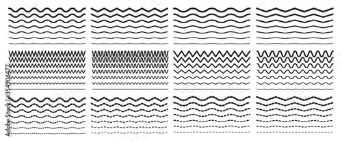 Seamless wavy zigzag line set Canvas