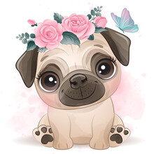 Cute Little Pug With Watercolo...