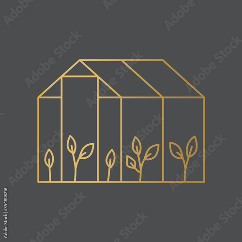 golden greenhouse icon- vector illustration Canvas Print
