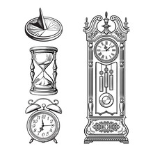 Set Of Old Clocks. Sundial, Ho...