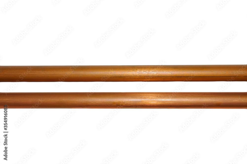 Fototapeta copper metal pipe on white background