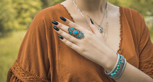Boho Silver Rings And Other Accessorize. Women's Bohemian Fashionable Details