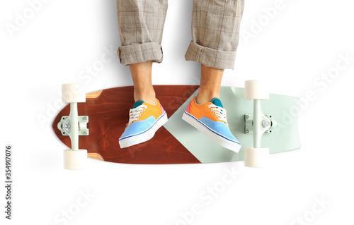 Skateboard, classic maple skateboard with white wheels фототапет
