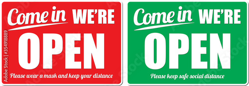 Come in We are open signboard with social distancing advice Wallpaper Mural