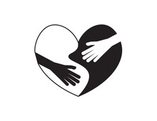 Black And White Hands On Black White Heart Shape