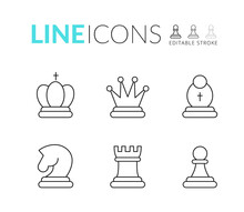 Chess Line Icon Set. Included Icon King, Queen, Bishop, Knight, Rook, Pawn. Chess Outline Pictogram. Editable Stroke. Set Of Strategy Icons In Line Style Vector Symbols, Isolated On A White Background