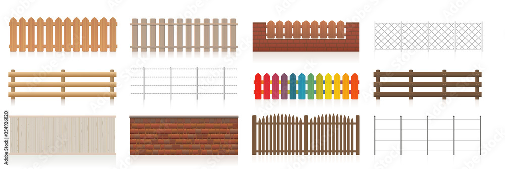 Fototapeta Different fences. Collection of fences like wooden, garden, electric, picket, pasture, wire fence, wall, barbwire and other railings. Isolated vector illustration on white background.