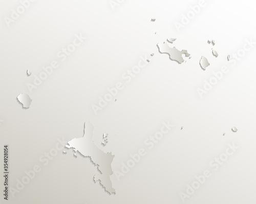 Seychelles map, effect 3D paper natural blank Canvas Print