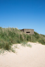 Fortified Military Pillbox From World War 2 Guarding The Beach At Fraisthorpe On The East Yorkshire Coast Against German Invasion