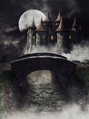 Night scene with a fantasy castle behind a bridge over a dark river. 3D render.