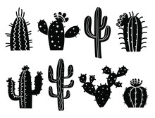 Cactuses Silhouette. Vector Se...