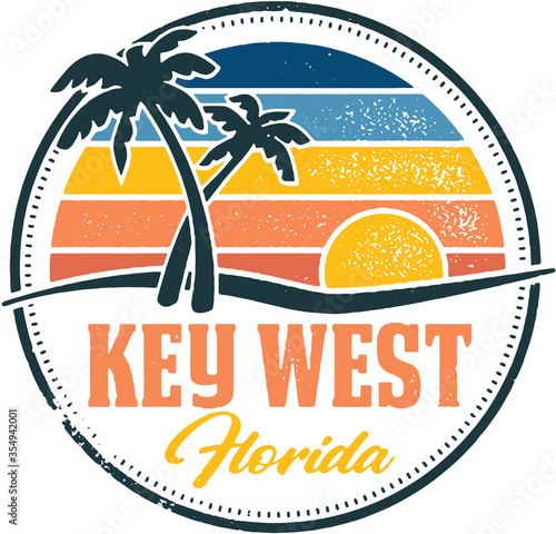 Key West Florida Vintage Travel Stamp