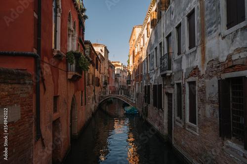 Desert Canal in sunset light in Venice, Italy.