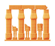 Ancient Egypt Temple Stone Columns Or Pillars, Symbol Of Egypt Flat Style Vector Illustration On White Background