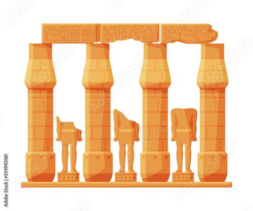 Vászonkép Ancient Egypt Temple Stone Columns or Pillars, Symbol of Egypt Flat Style Vector