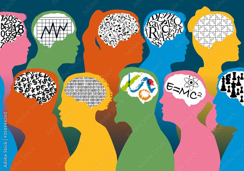 Fototapeta Concept de la diversité des talents et des savoirs-faire, avec des profils de personnages masculins et féminins associés à des cerveaux différents.