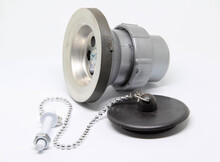 Bath Sink Plughole Set And Rubber Plug With Chain On White Background.