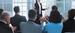 Leinwandbild Motiv businesswoman making a presentation for the employees of the company
