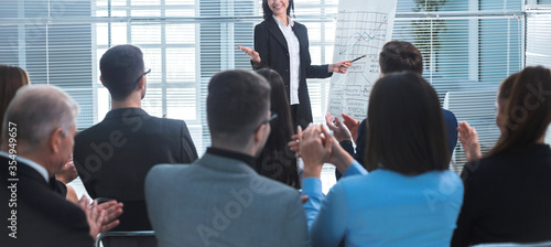 businesswoman making a presentation for the employees of the company