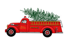 ..Christmas Fire Engine. Vinta...