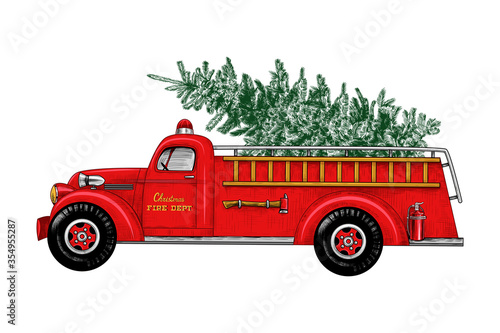 Fotografía ..Christmas fire engine. Vintage Fire Truck with a Christmas tree on a white bac