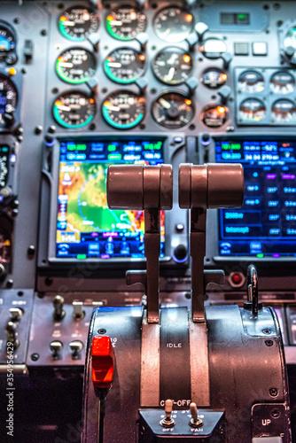 Fotografie, Obraz Thrust Levers of a Businessjet