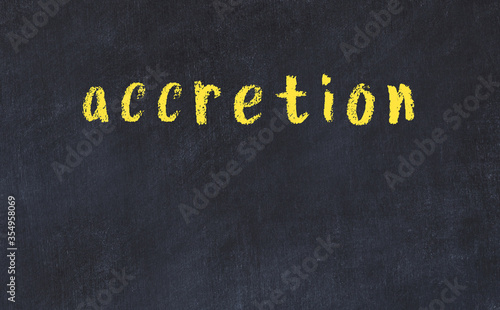 College chalk desk with the word accretion written on in Canvas Print