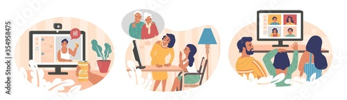 Obraz People using video chat app, vector flat isolated illustration - fototapety do salonu