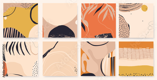 Hand drawn vector set of abstract artistic backgrounds. Modern trendy style. Soft pastel colors.