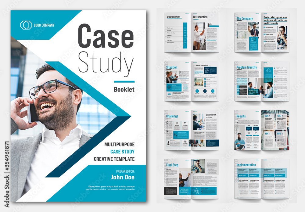 Fototapeta Case Study Layout with Blue Accents