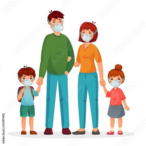 Fototapeta Family in protective face masks against pollution and coronavirus, health medical protective, woman man and children safety