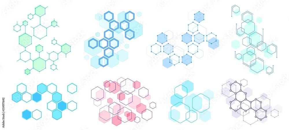 Fototapeta Abstract hexagonal structure. Futuristic composition, geometric hexagon network structures and honeycomb vector illustration set. Hexagon pattern structure, design molecular dna, polygon honeycomb