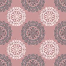 Seamless Geometrical Pattern With Round Dotted Mandalas.