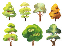 Set Of Watercolor Trees On Whi...