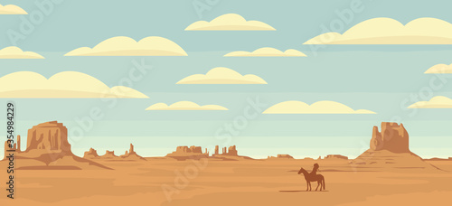 Fototapeta Decorative illustration with wild West prairies and the silhouette of an Indian chief on a horse. Vector landscape with a lone rider in the desert on the background of sky with clouds. obraz
