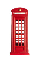 Isolated British Phone Booth Statuette.