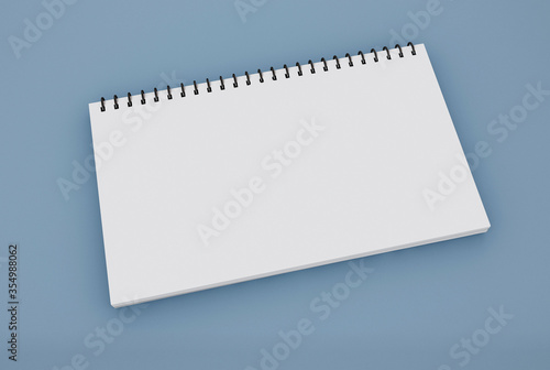 Photo 3D Illustration. Spiral blinder notebook mockup.