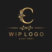 Classic Logo With A Flower. Go...