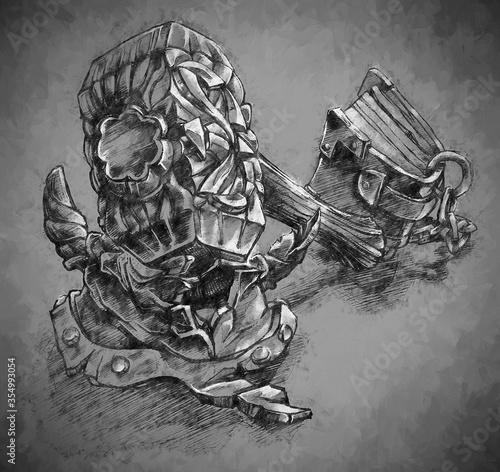 фотография Illustration of a fantasy concept, paladin tool, book and hammer